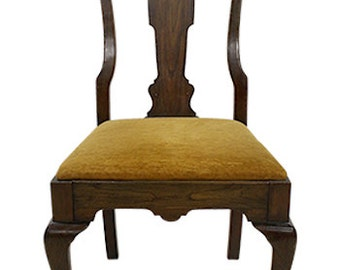 Walnut Veneer Wood Side Chair (Mustard Velvet)
