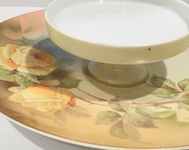 Hand Painted PSAG Bavarian Serving Dish, Tiered Serving Plate, Yellow Rose China, German China, Antique Porcelain Dish, Wedding Shower Gift