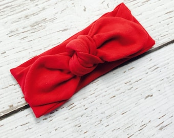 Red knotted bow headband