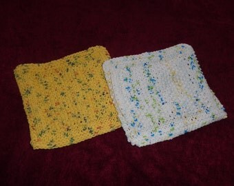 Hand Knit Dishcloths - set of 2 - 1 country print and 1 sumer prints