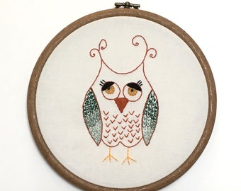 Wise Owl - Unique Hand Made Embroidered Wall Art - Framed in Hoop - Ready to Ship - Made in the UK