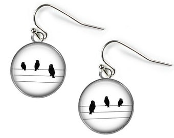 BIRDS on a WIRE - Glass Picture Earrings - Silver Plated (Art Print Photo G13)
