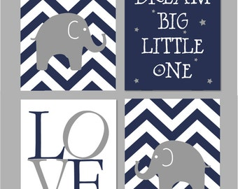 Navy Elephant Nursery, Dream Big Little One, Baby Boy Nursery Art, Chevron Nursery, Boy Nursery Printable, Elephant Nursery Wall Art,