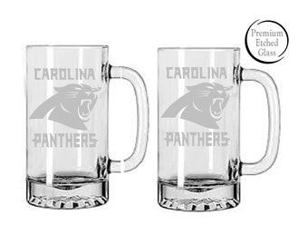 Carolina Panthers beer Mug,Etched beer mugs,Superbowl beer mugs,Sports Team Glasses,Etched glasses,Football mugs,engraved gifts,