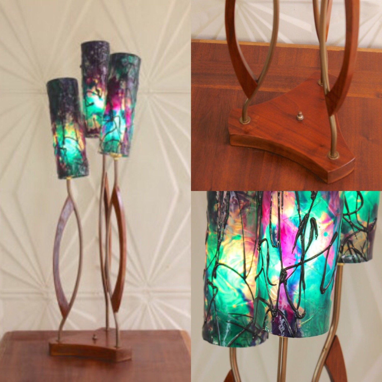 resin shade teak wood brass table lamp large green blue purple. Black Bedroom Furniture Sets. Home Design Ideas