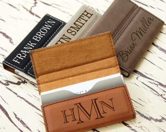Personalized Business Card Holder with Magnetic Catch Engraved with Choice of Font from Our Selection (Each)