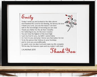 Personalised Inspirational Prayer Framed Poem - Thank You
