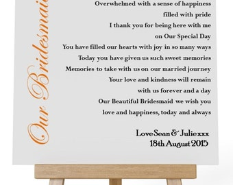 Personalised Square Wooden Plaque. Wedding Thank You Poem Gift for your Bridal Party.  Complete with Stand.