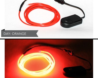 4 Foot LED El Wire Kit with 2032 Lithium Battery Pack - Light or Dark Orange (Batteries Not Included) - EDM, EDC, Burning Man