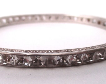 Art-Deco Sterling Silver & Paste 3/16-Inch Bangle Bracelet