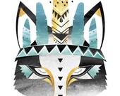 A2, A1, 16x20, 20x24 Aqua Boho Wolf. Watercolour / Digital print