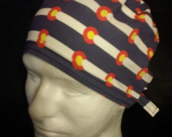 Colorado USA State Flag Tie Back Surgical Scrub Hat