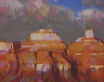 Grand Canyon Landscape Original Handmade oil Painting on Canvas  One of a Kind Impressionism Signed with Certificate of Authenticity