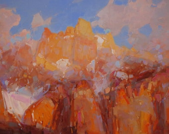 Landscape Oil Painting Rhone Alps -FranceTraditional art One of a Kind Impressionism Signed with Certificate of Authenticity Large Size