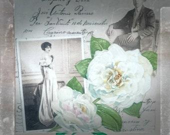 Shabby chic,White Peony Vintage box,Casket,Decoupaged Jewellery box,Keepsake box,Tea box,Gift for Bride,Gift fr mum,Gift for Vintage wedding