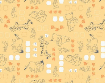 Per Yard, Disney Winnie the Pooh Characters in Chamomile Fabric From Camelot