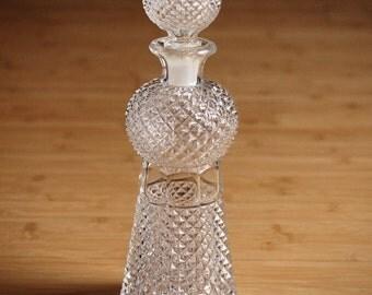 Vintage glass bottle, glass decanter, carafe, Liquor Decanter with stopper, Home decor