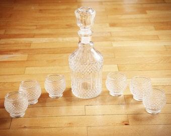 Vintage Barware Liquor Decanters, Vintage glass bottle, glass decanter, carafe, Liquor Decanter with stopper
