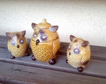 Owl Salt Pepper Shaker Sugar Bowl Set, Ceramic Salt and Pepper Shaker, Owl Decor, Owl Collectibles