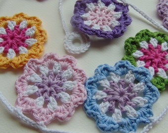 Handmade Crochet Flowers Garland, Bunting