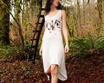 Soft White Racerback High Low Hem LOVE dress