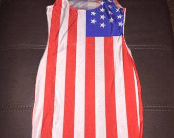 Reasonable Fitted American Flag Dresses