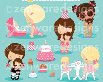 Girls with Dolls Clipart