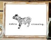 Zebra Print - Black and White Print - Wildlife Art - Black and White Picture - Safari Nursery Decor - Bedroom Wall Art - Black and White Art