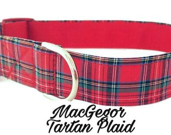 Plaid Dog Collar, MacGregor Tartan Plaid, Adjustable Sizes XS,Small, Medium, Large, XL