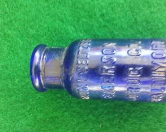 Vintage Cobalt Blue Brono-Seltzer Bottle