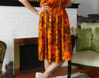 1950's/60's Handmade Orange Print Cotton Sundress