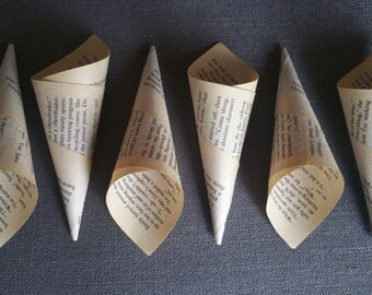 Book Cones made with book pages - Confetti Holders - DIY Book Wreath. Great for literary wedding, parties, showers, etc. 1 - 100. You pick!