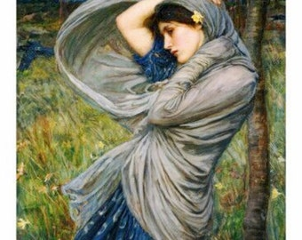 john-william-waterhouse-boreas. Young girl buffeted by the wind. 1904, antique art, pre-repaelite, canvas art print, fine art prints