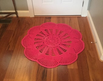 Emily Hot Pink Doily Crochet Rug