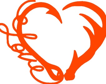 Love Fishing and Deer Hunting Heart, Hook and Antler Heart