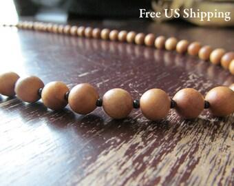 Men's Sandalwood Necklace, Beaded Necklace, Men's Necklace, Mens Necklace, Beaded Wood, Long Necklace, Wood Bead, Layering Necklace