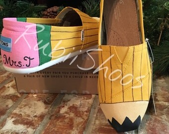 Rubiishoos Original. Personalized- Teachers Gift- Pencil Toms- School Supplies-Teacher- Assistant- Daycare- Educator Gift- Hand Painted Toms