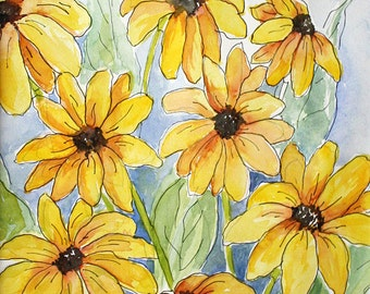 YELLOW DAISIES DANCING - Original Watercolor, Yellow Daisies,  Wildflower Watercolor, Watercolor Painting, Watercolor Art, Yellow Daisy