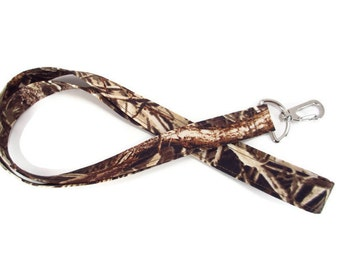 Lanyard in Brown camo print with Swivel Clip and Quick Release Options