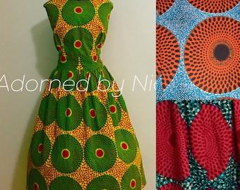African Print Dress- Circle Print Dress with Pockets
