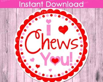 I Chews You Valentine INSTANT DOWNLOAD, Valentine Tags Label, PRINTABLE Girls Valentines, Valentine's Day Stickers Party Class Gum Kid Kids