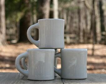 Set of Four Vintage Thick Porcelain Diner Mugs / Heavy Restaurant Mugs / Vintage Diner Coffee Mugs