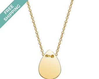 ON SALE Gold Plated Sterling Silver Tear Drop Necklace