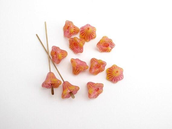 6pcs Dusty Rose Pink Czech Glass Flower Beads 9mm Table Cut Bohemain GB51