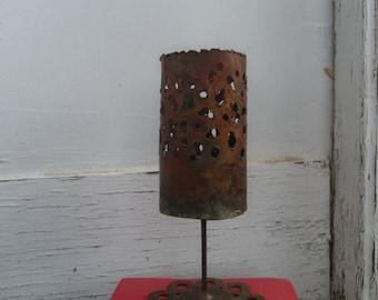 Vintage  Brutalist Torch Cut Metal Candle Holder