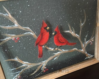 winter cardinals, hand painted, recycled, window screen, wood frame,Painted window,screens,Cardinal Bird,Red Cardinal