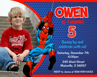 Superhero Spiderman Birthday Party Invitation - Printable or Printed with FREE SHIPPING