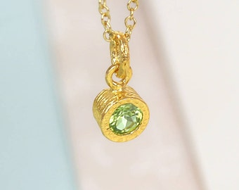 Gold Peridot Necklace, Gemstone Necklace, Gold Gemstone Pendant, August Birthstone, Natural Stone Necklace, Green Stone Pendant, Peridot