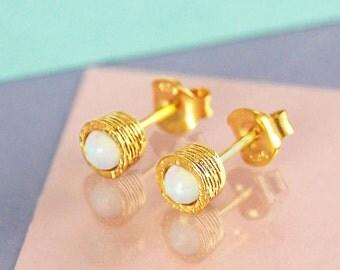 Gold Studs, Opal Earring, Gold Gemstone Stud Earrings, Opal Studs, October Birthstone, Dainty Studs, Simple Earring, 925 Studs, Gift for Her