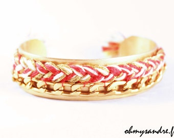 Golden braid and chain Cuff Bracelet
